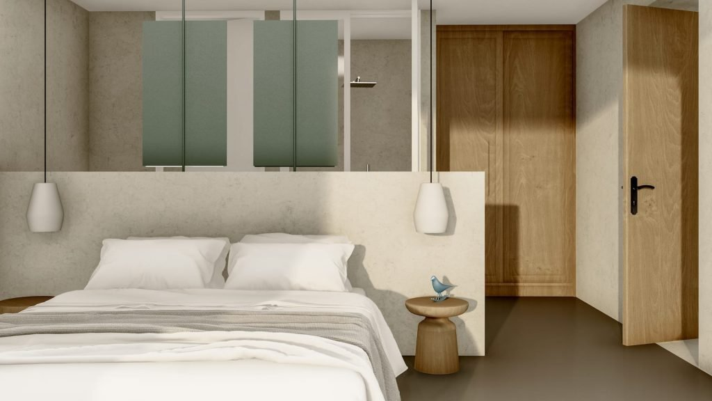 Inside the luxury villa Lito, a luxury pool villa in Ftelia, Mykonos with modern design.