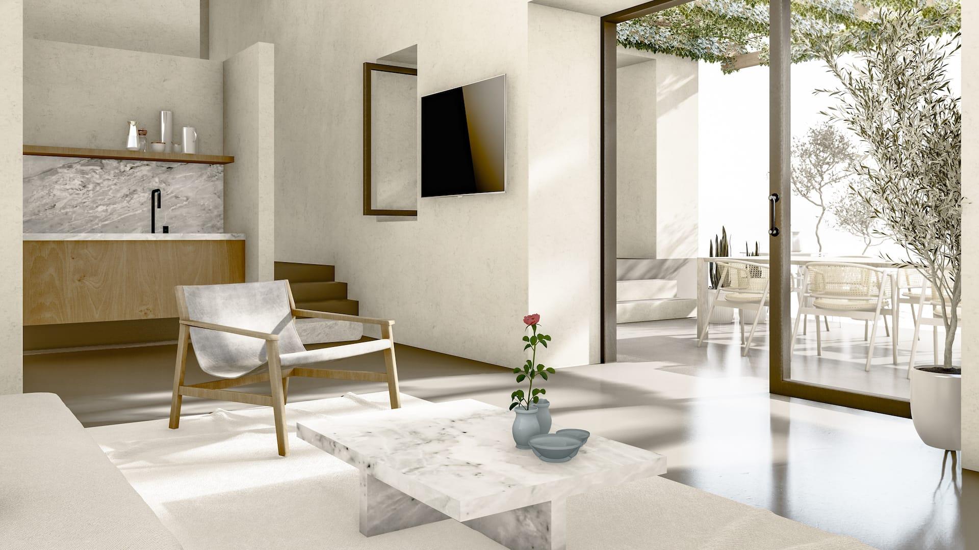 Inside the luxury villa Aella, a sea view luxury villa in Ftelia, Mykonos with modern design.