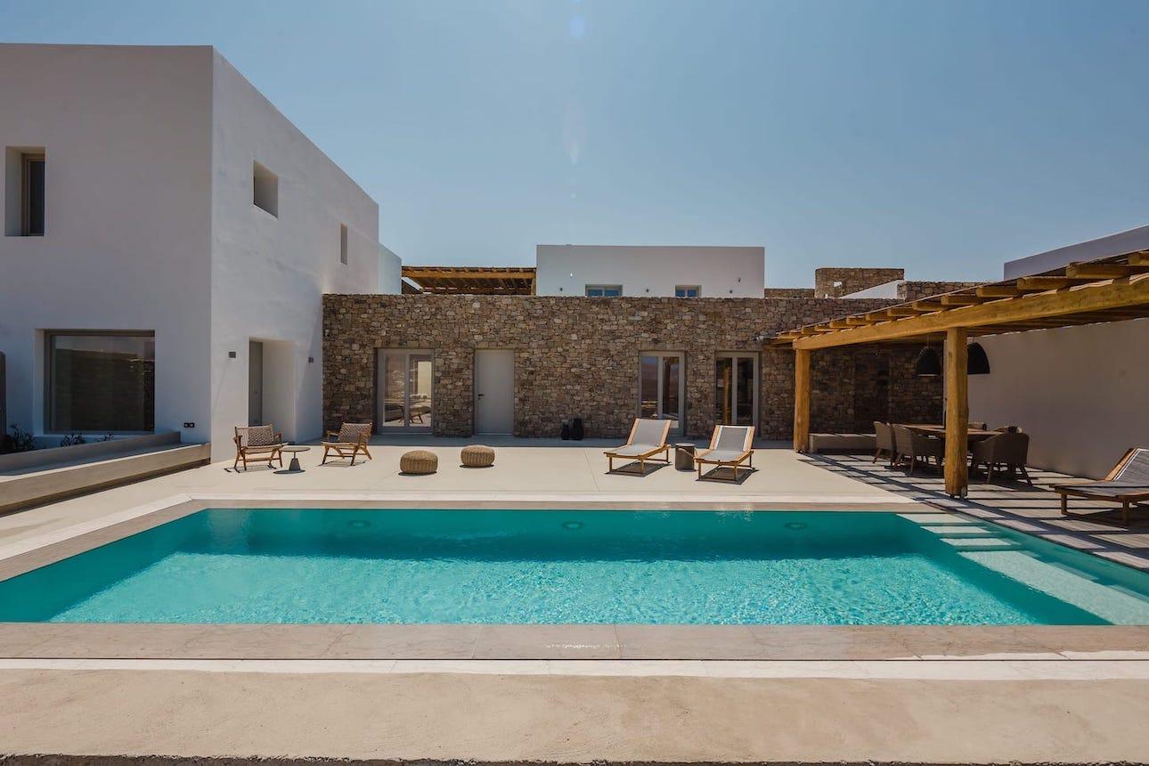 The luxury villa Anais pool & terrace with sunbeds. A 2 bedroom luxury villa in Ftelia, Mykonos.