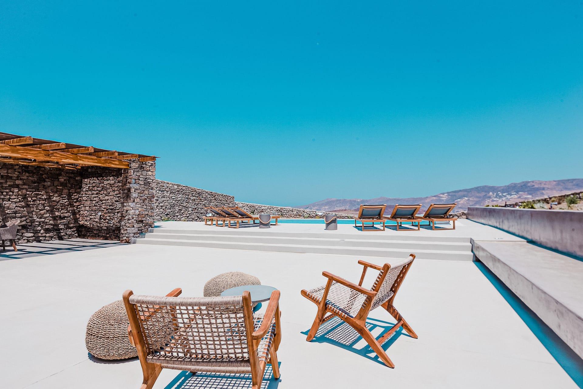 The villa Astrea, private terrace with sitting area. A luxury private pool villa in Ftelia, Mykonos.