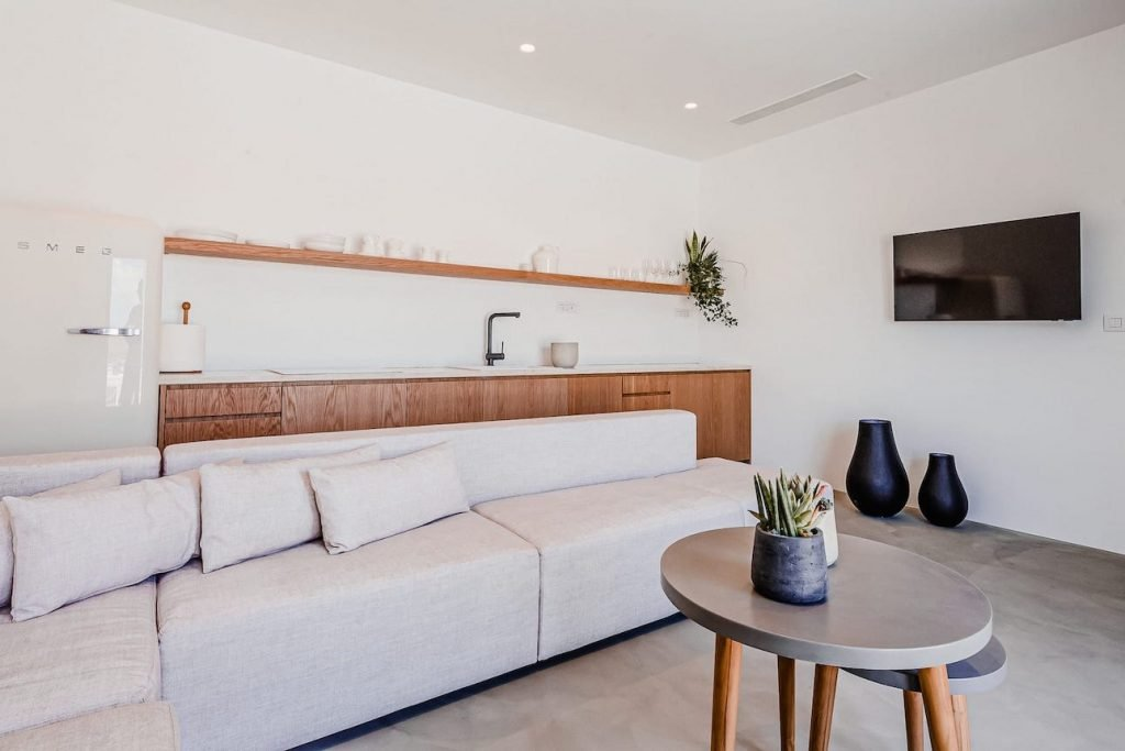 Inside the luxury villa Astrea, a luxury private pool villa in Ftelia, Mykonos with modern design.