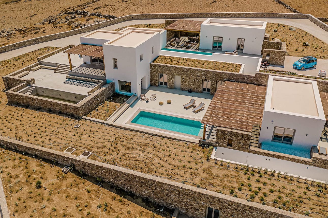 The private Amarelo luxury villas in Mykonos with pools, located in Ftelia, Mykonos.