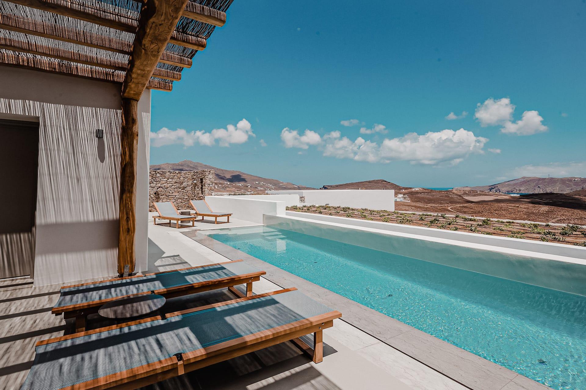 The villa Iris private terrace and outdoor pool. A 1 bedroom luxury villa in Ftelia, Mykonos.