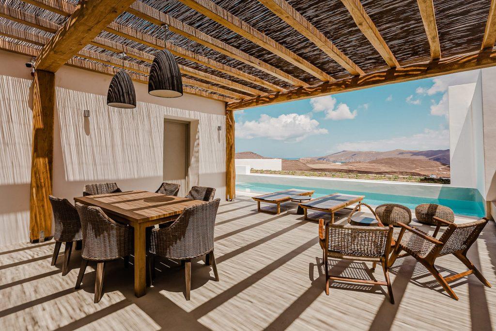 The villa Iris private terrace. A 1 bedroom luxury villa in Ftelia, Mykonos with modern design.